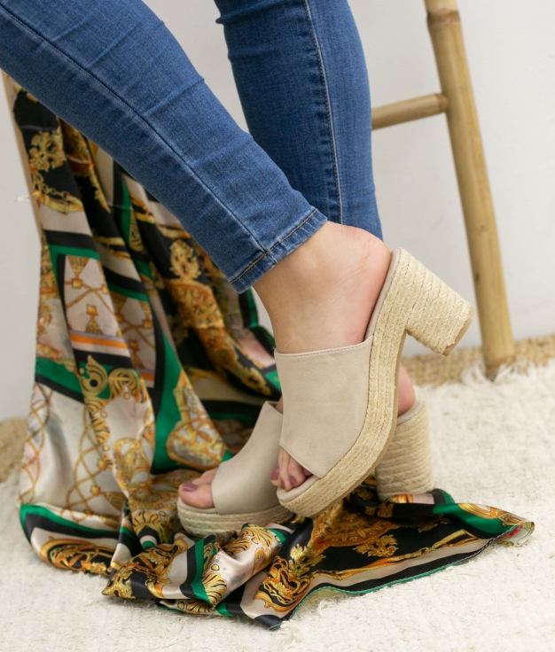 Sandalia de Tacón Gon - Beige