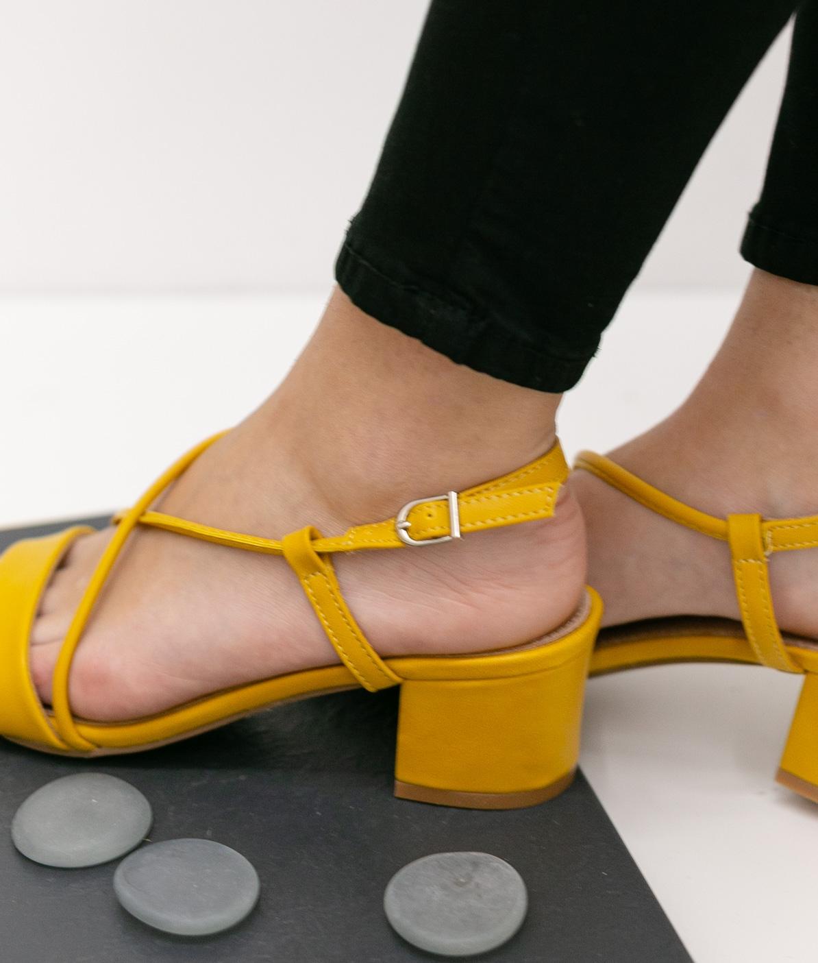 Sandália de Salto Tesien - Amarelo - Pianno 39