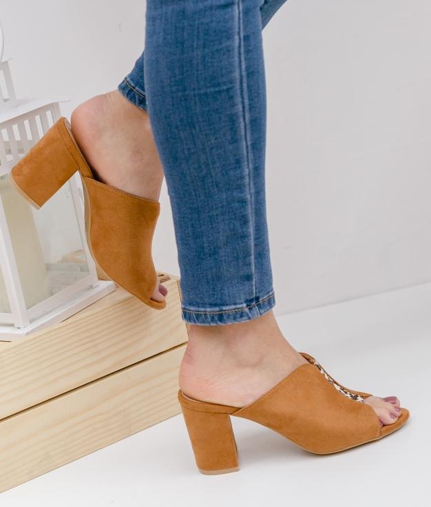 Sandalia de Tacón Brinca - Cammello