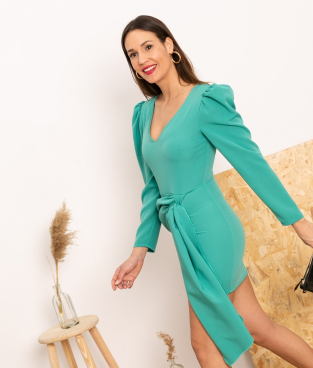 Vestido Cortes -Turquoise