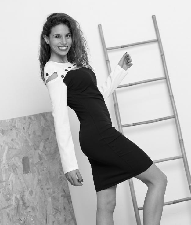 Vestido Josguer - Negro/Blanco