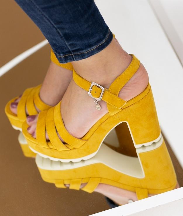 Sandália de Salto Uwaju Xti - Amarelo