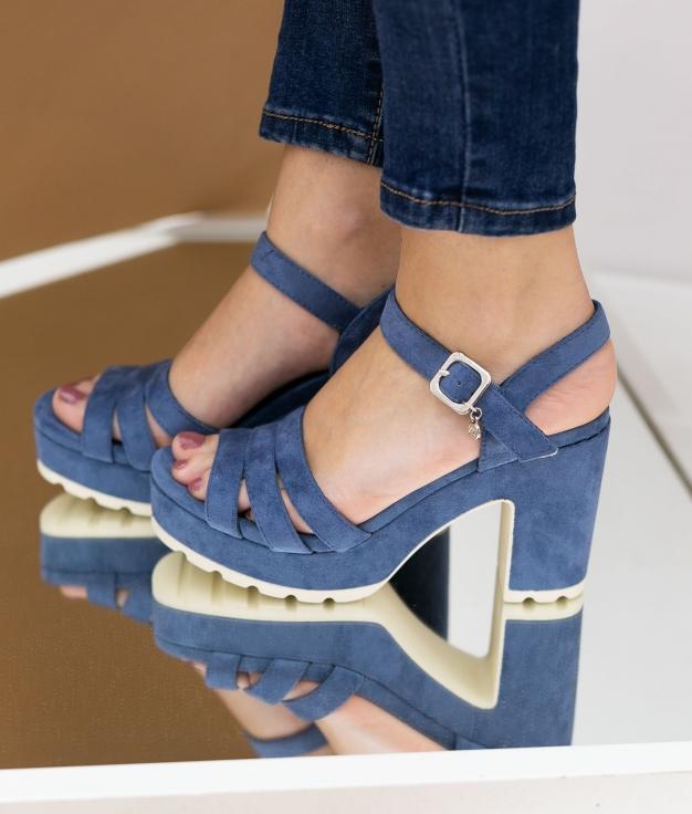 Sandália de Salto Uwaju Xti - Jeans