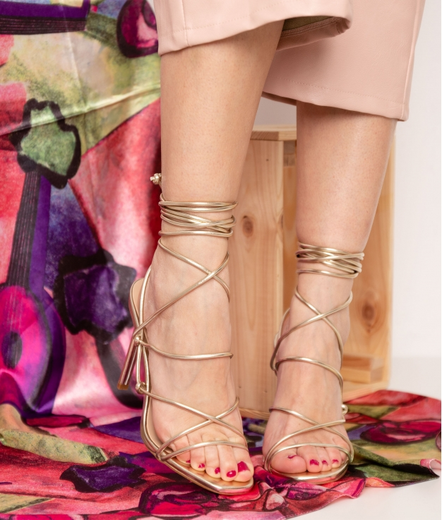 High Sandal Buty - Golden