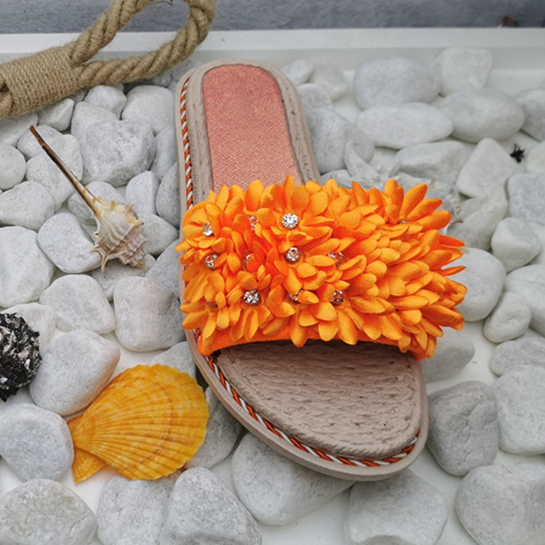 Sandalia Plana Begonia - Naranja