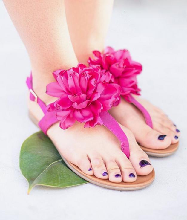 Sandalia Flora - Fucsia