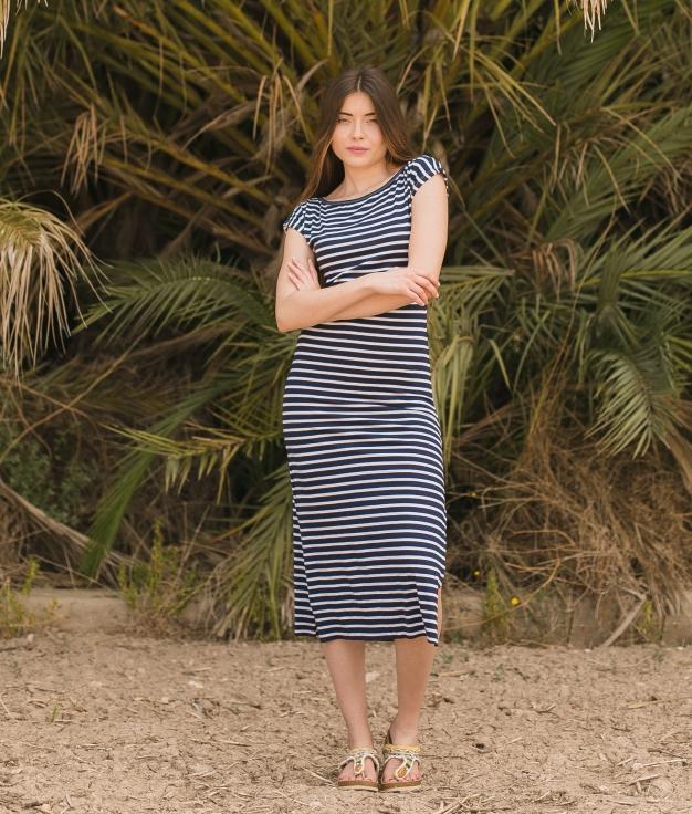 Vestido Llanes - Rayas Azul Oscuro
