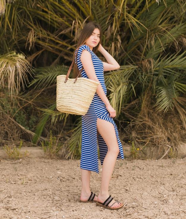 Vestido Llanes - Riscas Azul Klein