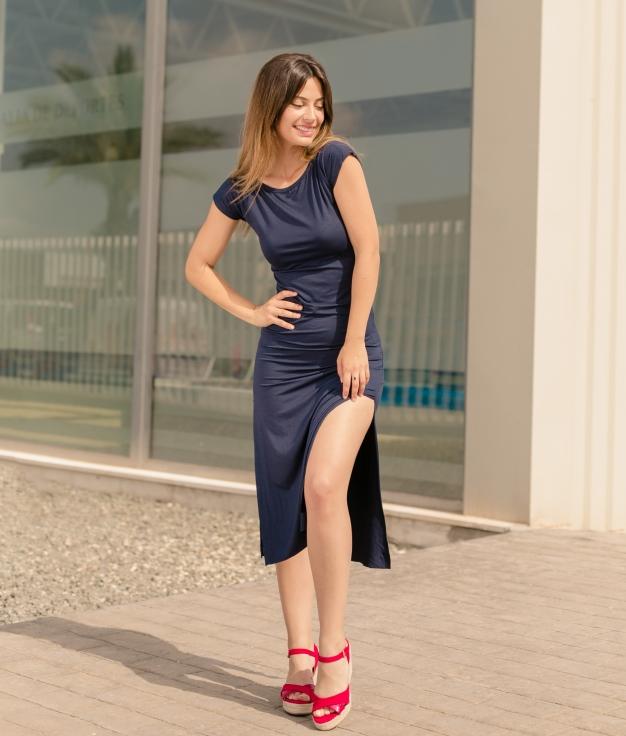 Vestido Llanes - Liso Azul Marino