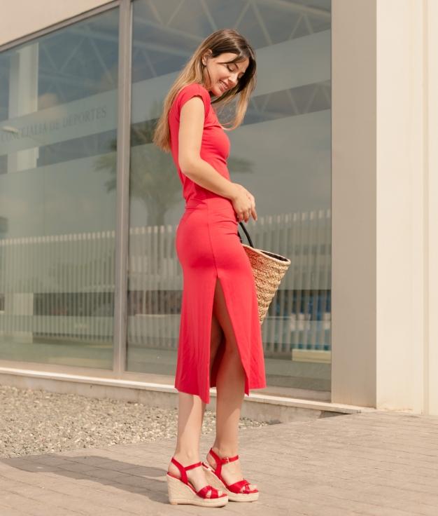 Vestido Llanes - Liso Rojo