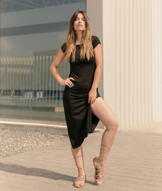 Vestido Llanes - Liso Preto