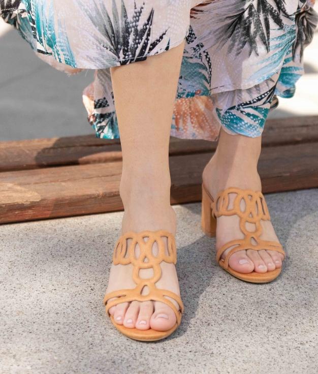 Sandália de Salto Ludi - Camelo