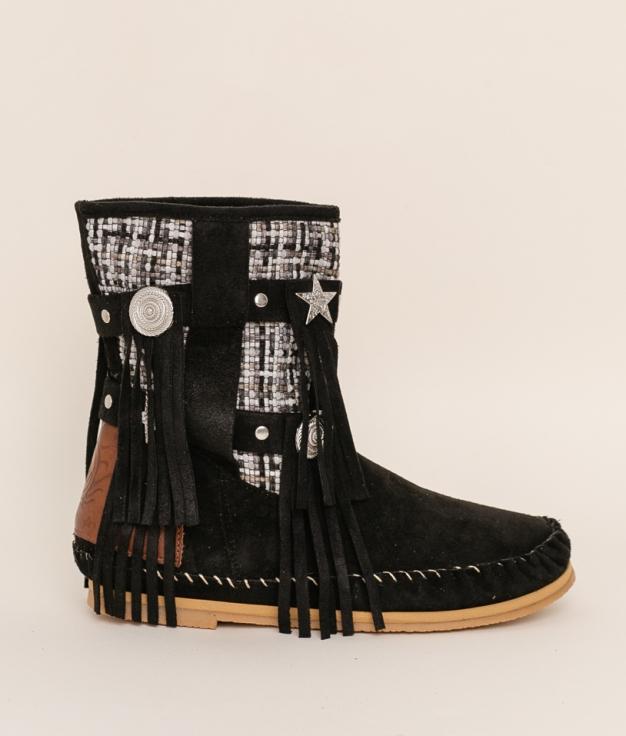 Low Boot Indianini Imari - Black