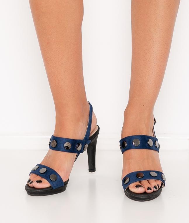 Sandalia de Tacón Tachuelas - Azul Marino
