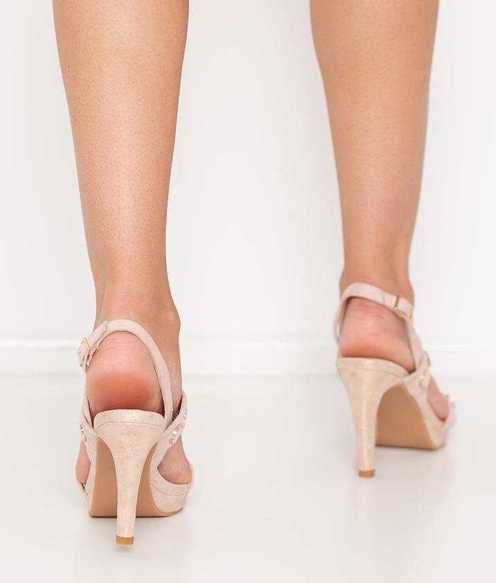 Sandalia de Tacón Tachuelas - Nude