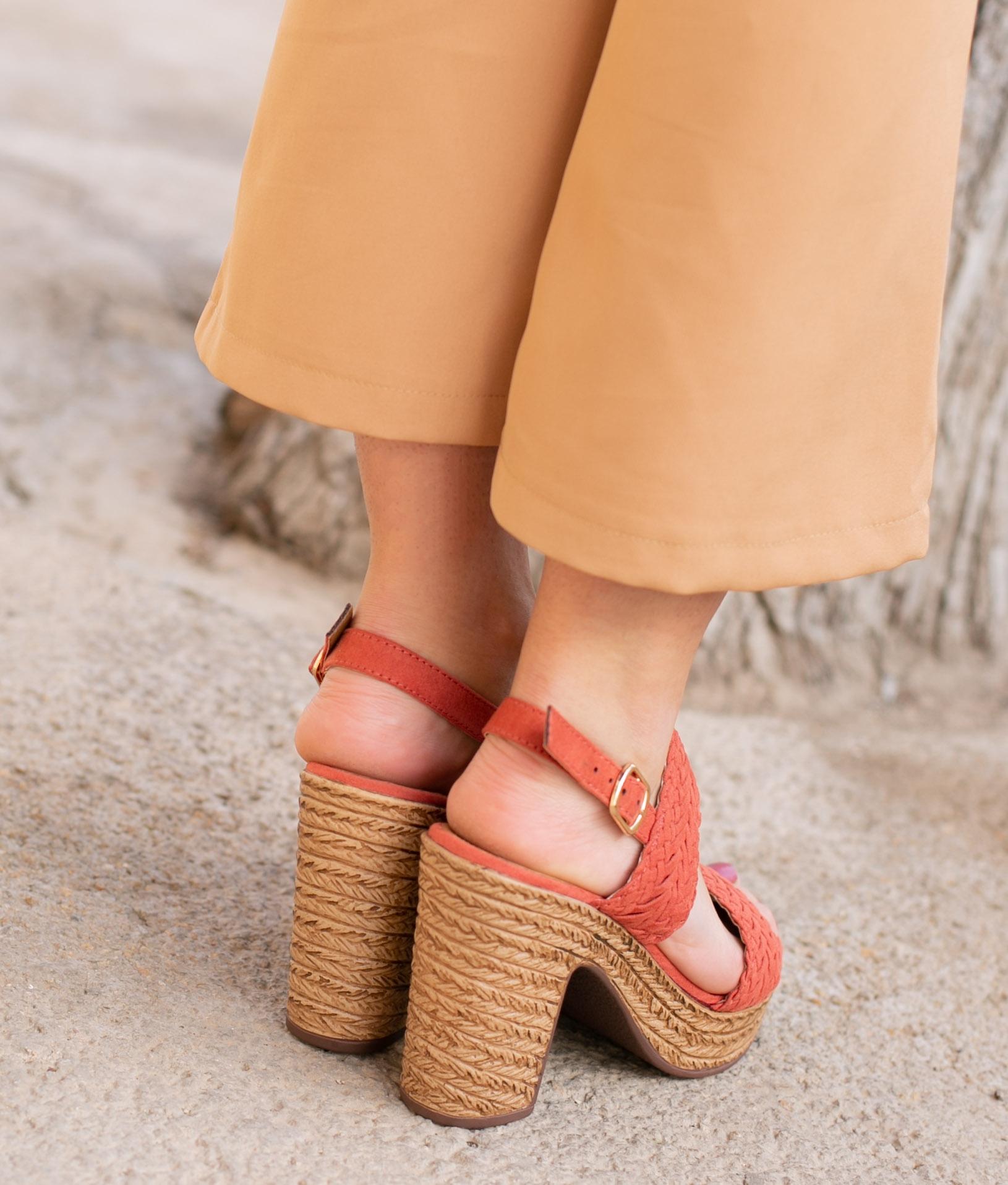 Sandale Talon Landa - Rouge