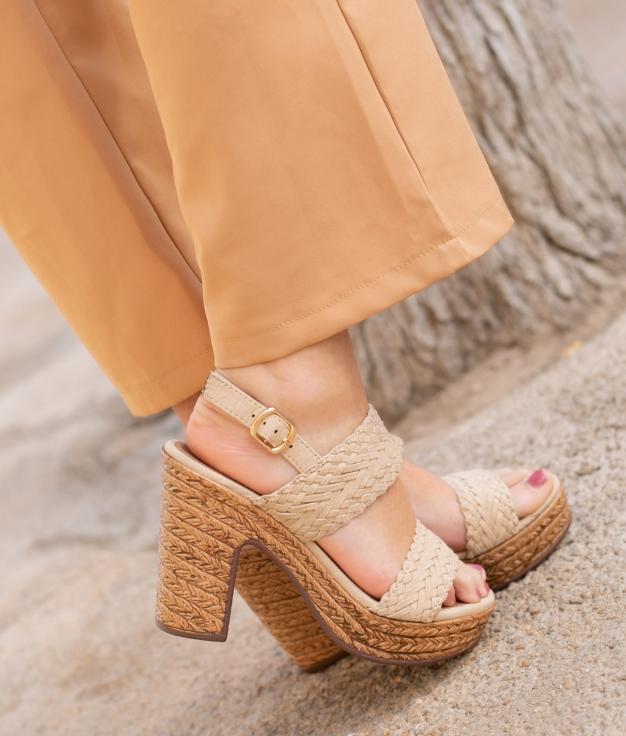 Sandália de Salto Landa - Bege