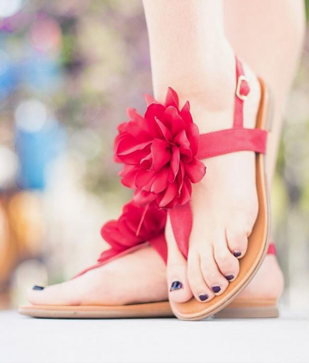 Sandalia Flora - Rojo
