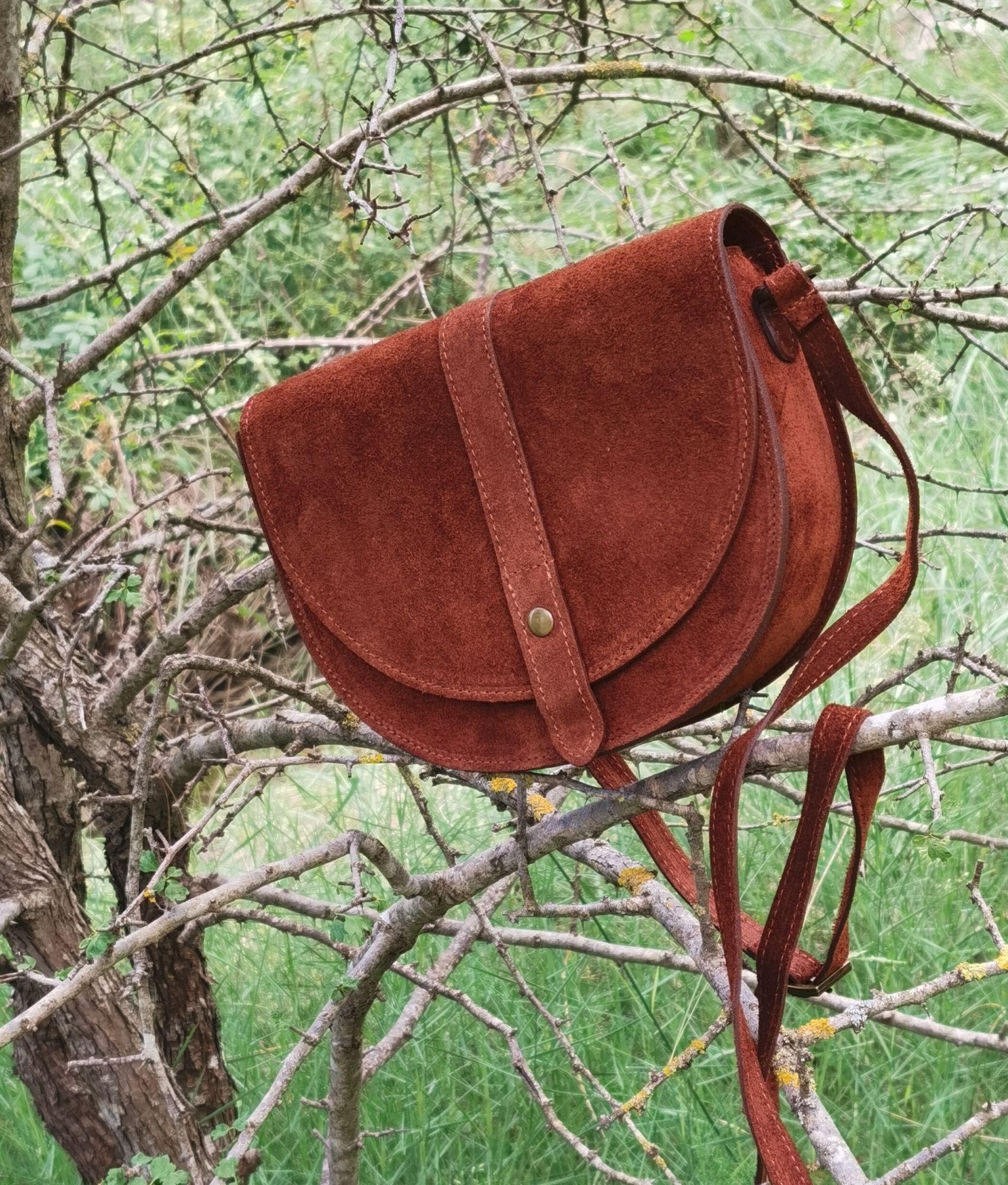 Leather crossbody bag Luna - brown