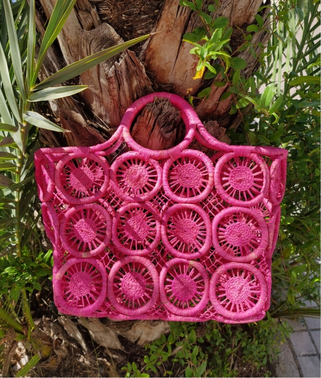 Wicker Basket Geova - fucsia
