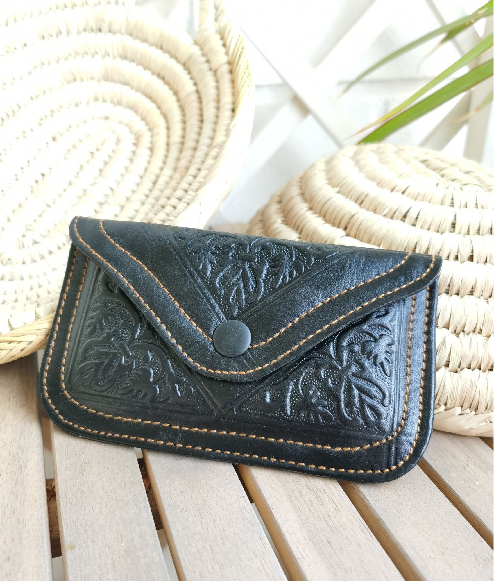 Leather coin purse Tiptop - black