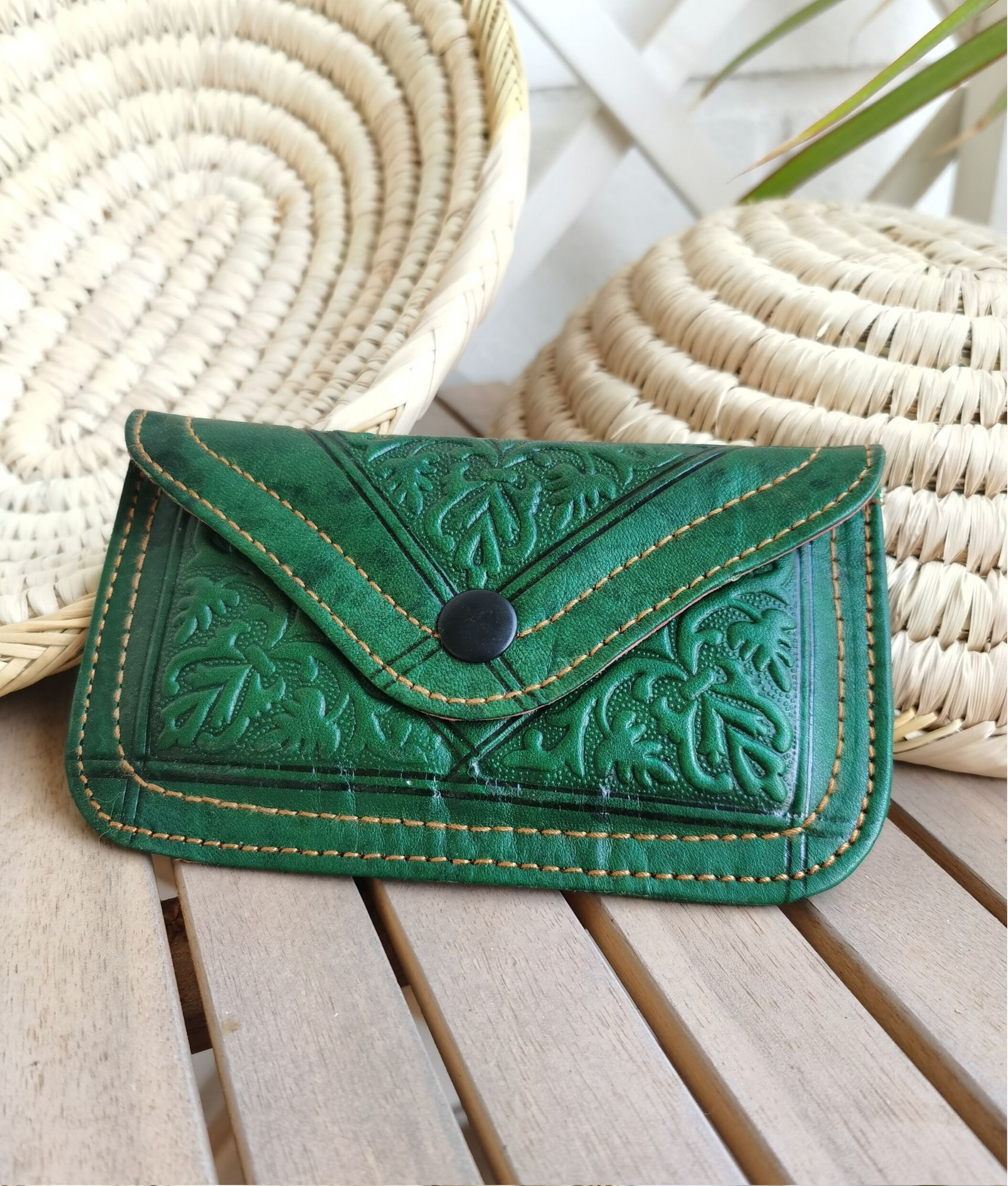 Leather coin purse Tiptop - brown