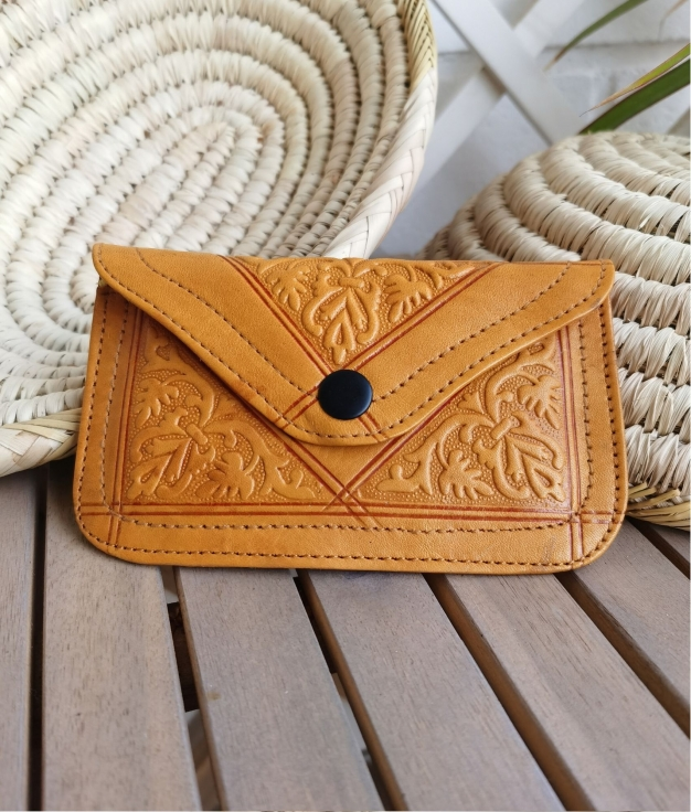 Leather coin purse Tiptop - mustard