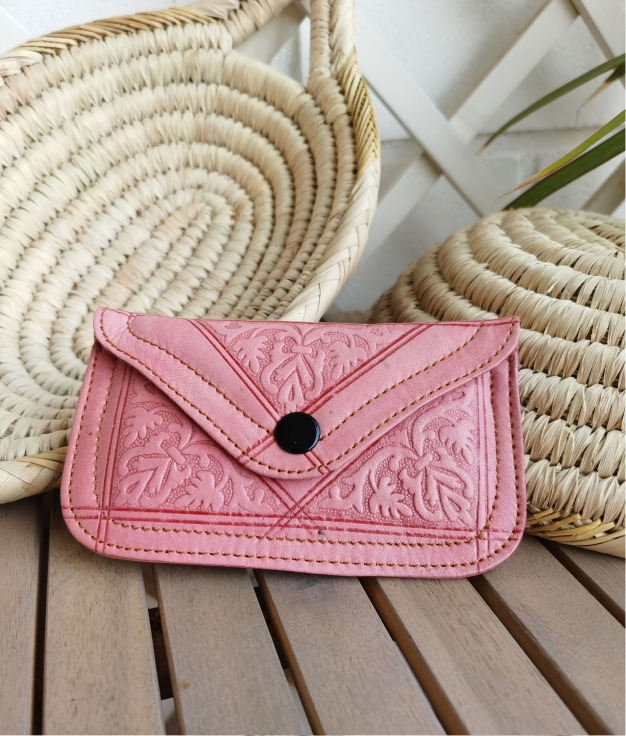 Leather coin purse Tiptop - pink