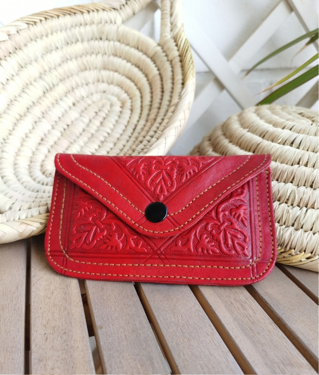 Leather coin purse Tiptop - red