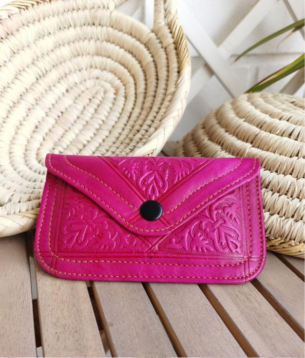 Leather coin purse Tiptop - fucshia