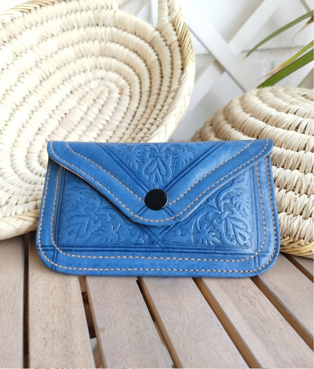 Leather coin purse Tiptop - blue