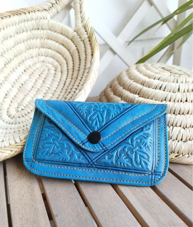 Leather coin purse Tiptop - light blue