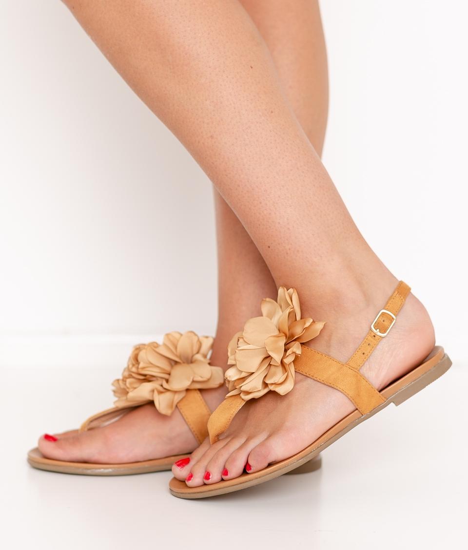 Sandalia Flora - Camel