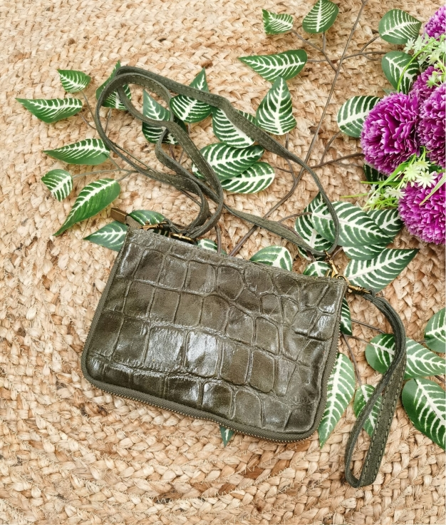 Finland leather crossbody bag - olive green