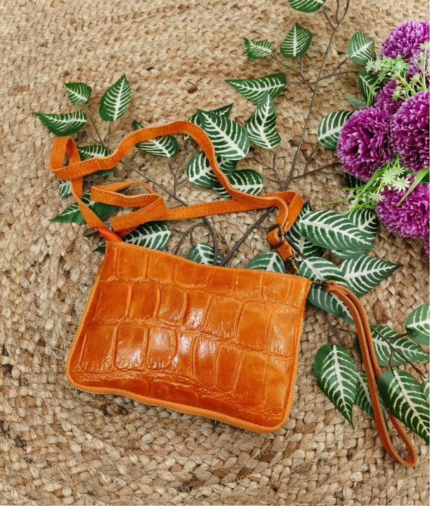 Finland leather crossbody bag - orange
