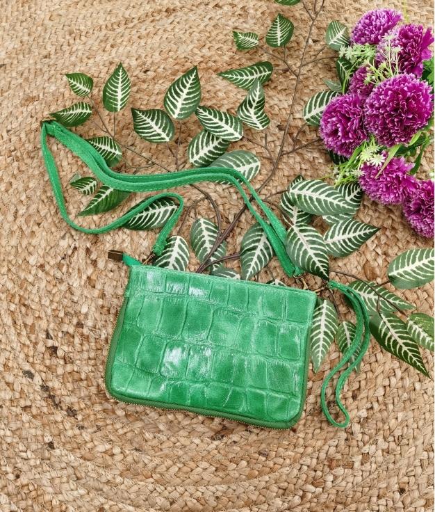 Bolsa crossbody em couro Finlândia - verde maçã