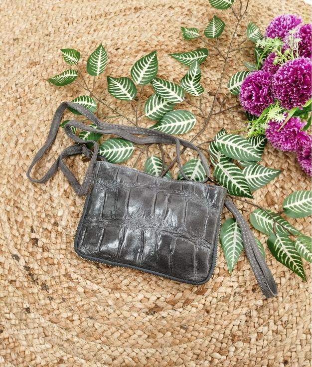 Bolsa crossbody em couro Finlândia - cinzento