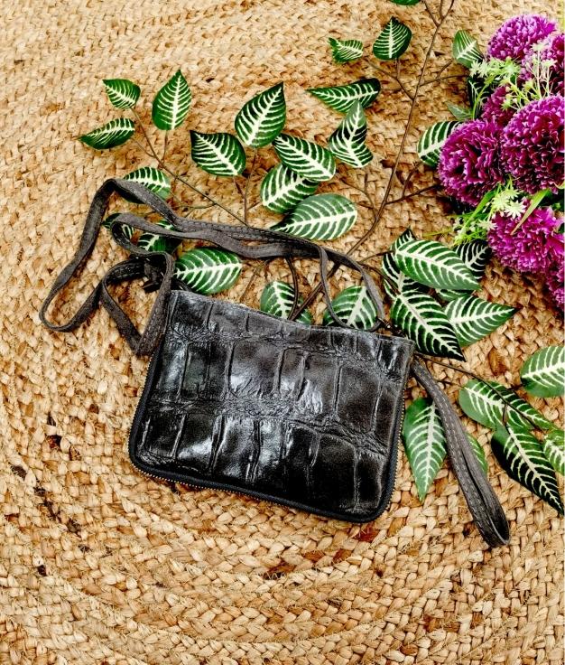 Bolsa crossbody em couro Finlândia - preto
