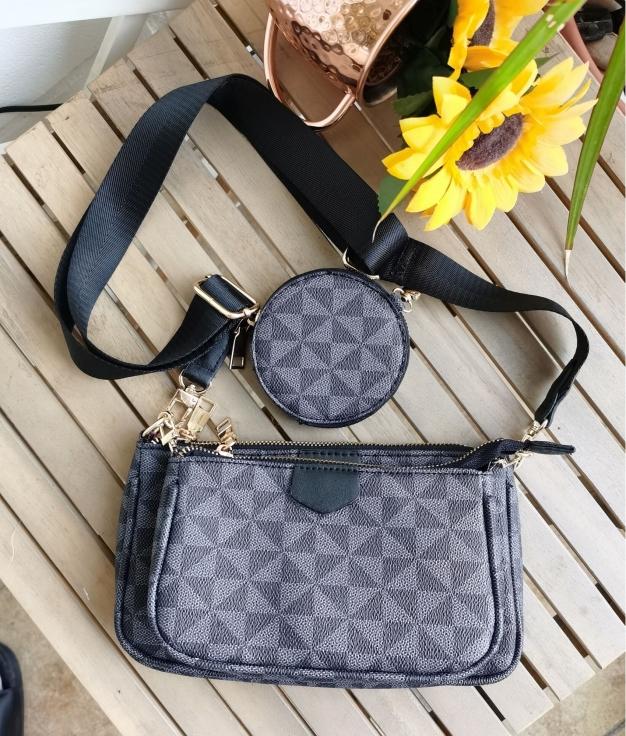 Trio shoulder bag - black