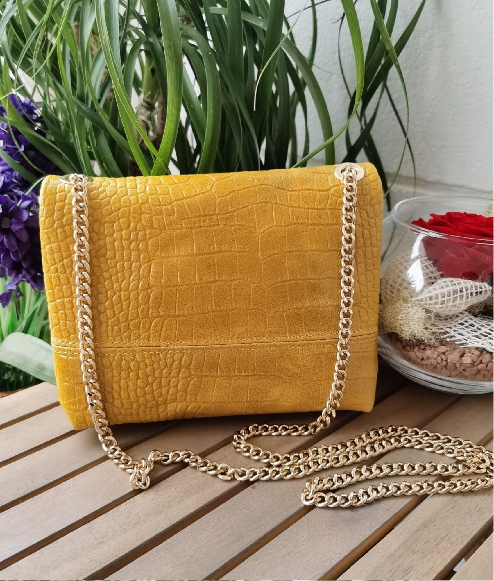 Leather bag Annabella - yellow