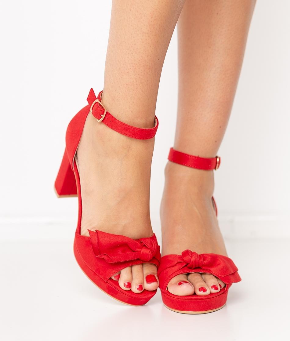 Sandalia de Tacón Pitosa - Rojo