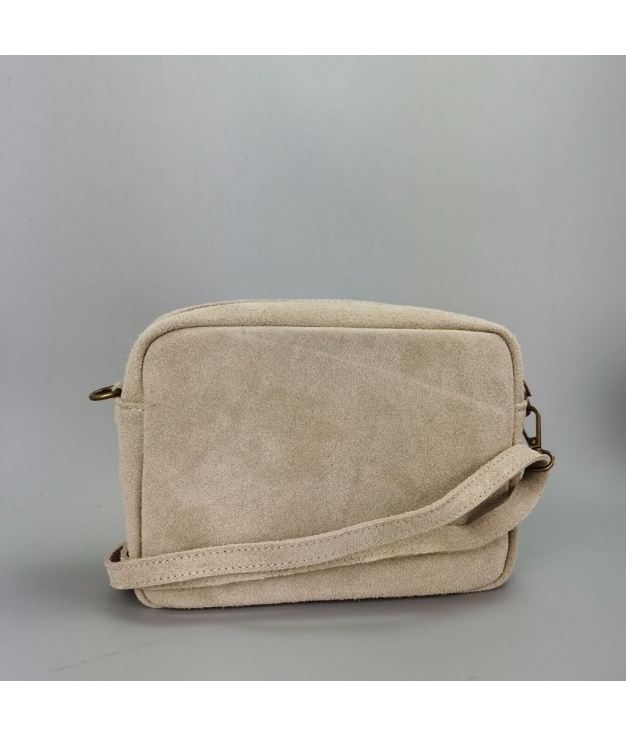 Leather crossbody bag Valentina - beige