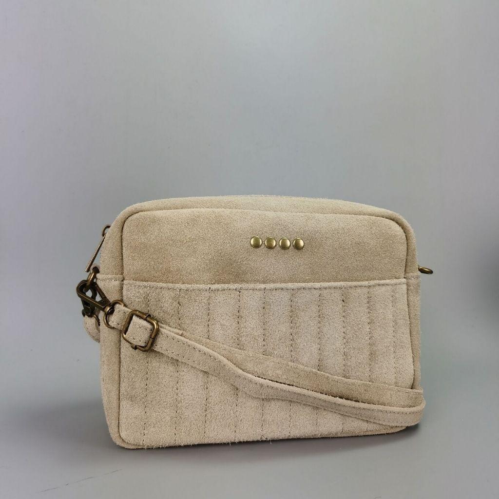 Leather crossbody bag Valentina - beige