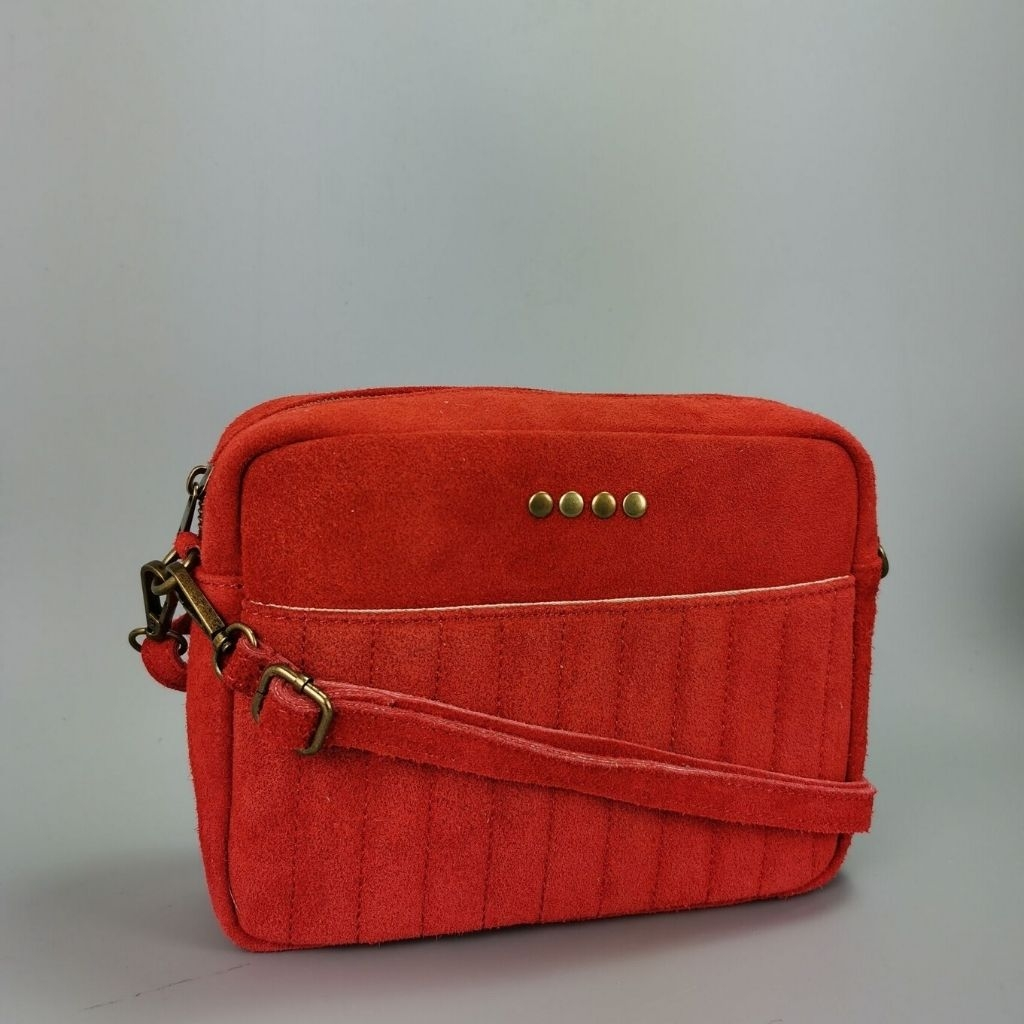 Leather crossbody bag Valentina - red