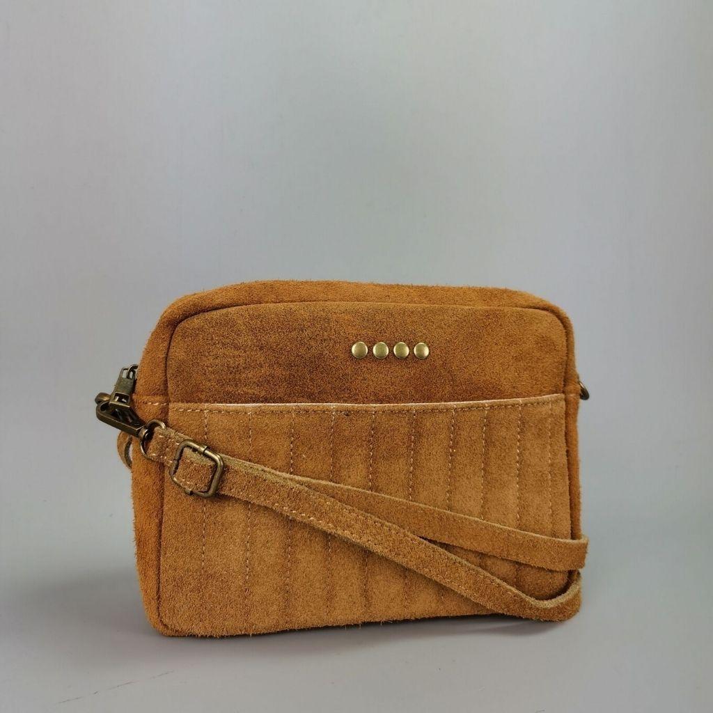 Leather crossbody bag Valentina - camel
