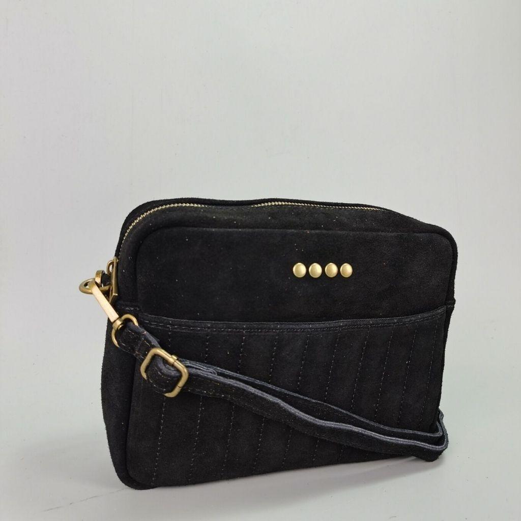 Leather crossbody bag Valentina - black