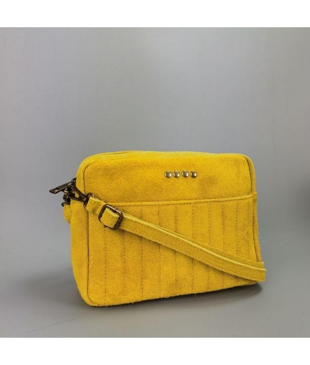 Bolsa crossbody em couro Valentina - amarelo