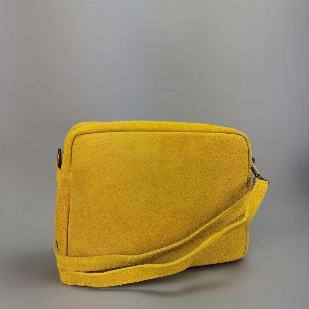 Leather crossbody bag Valentina - yellow