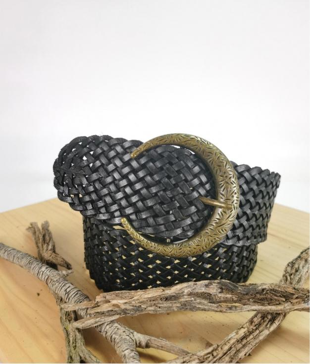 Cinturón de piel Julia - negro