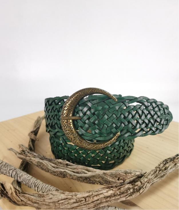 Cinturón de piel Stellina - verde